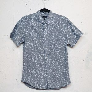 J Crew slim fit button down floral chambray shirt